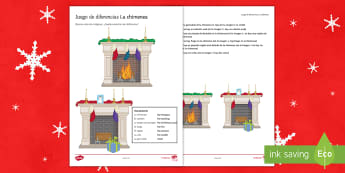 Christmas Spot the Differences Activity Sheet Spanish - speaking, writing, developing, ideas, extending, sentences