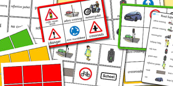 Walk to School Month Bingo - Road, Safety, Safe, Bingo, Game, Cars, Bus