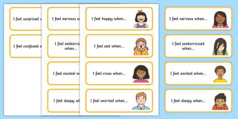 Feelings Sentence Starters - feelings, sentence, starters