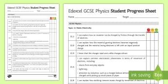 Edexcel Style GCSE Physics, Static Electricity Progress Sheet  - electrostatic, earthing, electrons, friction, insulators, exam preparation, edexcel, revision, physi