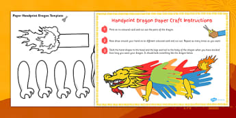 Chinese New Year Handprint Paper Dragon Craft - chinese, craft