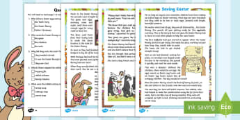 KS1 Saving Easter Differentiated Reading Comprehension Activity - Children's Books, story, book, Easter, save, saving, Easter Bunny, bunny, bunnies, stories, chick,