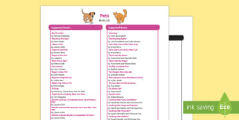 Pets Book List - EYFS Pets, Animals, National Pet Month,dogs, cats, rabbits, guinea pigs, fish, hamsters