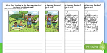 Summer Garden Writing Stimulus Picture English/Romanian - Writing, independent, early years, EYFS, literacy, CLL, seasons, eal