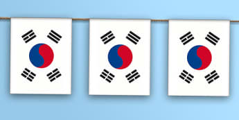 South Korea Flag Bunting - flag, world, geography, Asia, display