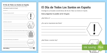 All Saints' Day Research Project Activity Sheet Spanish - Halloween, Day, Dead, Vocabulary, research, Spain, Traditions, Festivities, Celebrations, workseet