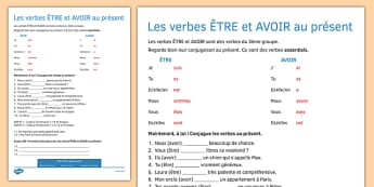 ÊTRE and AVOIR Present Tense Worksheet / Activity Sheet French - french, present tense, etre, avoir, tense