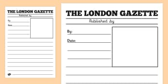 The Great Fire of London Newspaper Writing Template - writing