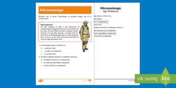 Firefighters Reading Comprehension  Activity Sheet - Te Reo Māori  - Reading Comprehension, Te Reo Maori, Firefighters, Firefighting, Comprehension Activity