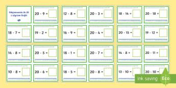 Karty z wyzwaniami Odejmowanie do 20  - różnica, odjąć, odejmij, matematyka, liczenie, oblicz, odjemnik,Polish