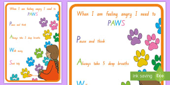 PAWS Ways to Handle my Anger Display Poster - anger management, angry, pAWS, paws, think, behaviour management, wITS