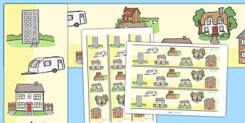 Houses and Homes Display Borders - house, home building, Display border, border, display, brick, stone, detached, terraced, bathroom, kitchen, door, caravan, where we live, ourselves