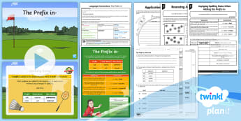 PlanIt Y5 Language Conventions: The Prefix  in- Lesson Pack - Language Conventions, year 5, naplan, phonics and word knowledge, prefix, -in, base words, grammar,