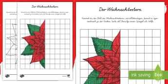 Der symmetrische Weihnachtsstern Ausmalbild - Weihnachten, Weihnachtsstern, Adventsstern, Poinsettie, Symmetrie, symmetrisch, ausmalen,German