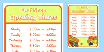 New Zealand Fruit Shop Role Play Opening Times