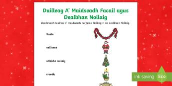 Cfe- A' Chiad Ire- Duilleag A' Maidseadh Facail agus Dealbhan Nollaig - Cfe, A' Chiad Ire, Gaelic, Nollaig, Pacaid, Cànan, Matamataigs, Lethbhreacan