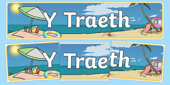 Beach Themed Banner Welsh - traeth, header, summer