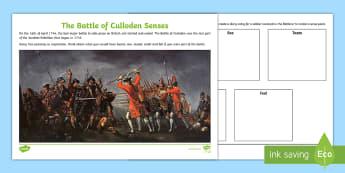 The Battle of Culloden Senses Worksheet / Activity Sheet - worksheet, Battle of Culloden, Culloden resources, senses, painting reflection Battle of Culloden, t