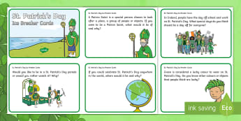 KS1 St. Patrick's Day Ice Breaker Cards - discuss, think, why, explain, talk