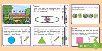 First Level Outdoor Maths Challenge Cards - Maths, mathematics, number, shape space measure, outdoors, outdoor learning, outdoor environment, ch