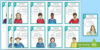 Mental Calculation One, Two and Three-Digit Number Matching Cards - Addition, Subtraction, Multiplication and Division, 3 digit, 2 digit, 1 digit, mentally, mental calc