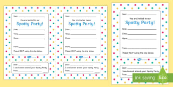 Spotty Themed Party Invitation