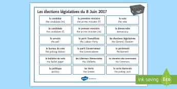 UK General Election Word Mat French - Secondary - Event - General Election 08/06/2017, élections, français writing, support, independent