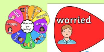Vocabulaire sous forme de fleur : Les émotions - Anglais LV