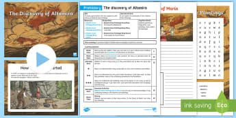 Altamira Cave Paintings Lesson Pack - Altamira, stone age, prehistory, Spanish history, Palaeolithic, cave paintings, bison, archaeologist
