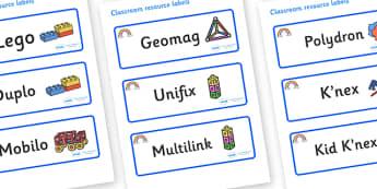 Rainbow Themed Editable Construction Area Resource Labels - Themed Construction resource labels, Label template, Resource Label, Name Labels, Editable Labels, Drawer Labels, KS1 Labels, Foundation Labels, Foundation Stage Labels