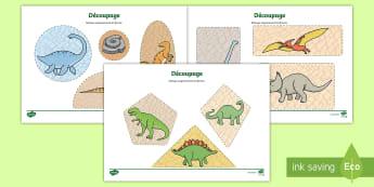Feuille d'activités de découpage : Les dinosaures - Cycle 1, Arts plastiques, Motricité, Animaux, Paléontologie, Reptile, Préhistoire,French
