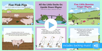 Spring Animals Songs and Rhymes PowerPoints Pack - EYFS, Early Years, Key Stage 1, KS1, spring, seasons, weather, chicks, Easter, songs, music.