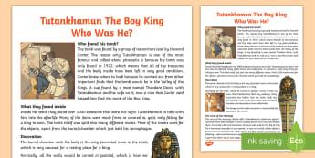 The Ancient Egyptians Tutankhamuns Tomb Information Print Out
