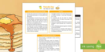 Pancake Day Fact Sheet for Adults - Early Years, continuous provision, early years planning, adult led, Shrove Tuesday