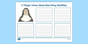 5 Things I Know About Saint Mary MacKillop Worksheet / Activity Sheet-Australia, worksheet