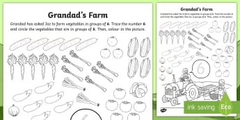 Grandad's Farm Number 6 Vegetable Picking Activity Sheet - ROI, on the Farm, farm animals, number recognition, six, Aistear, Story, Maths, Activity Sheet, Numb