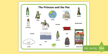 The Princess and the Pea Word Mat (Images) - The Princess and the Pea, word mat, writing aid, prince, queen, princess, pea, castle, fairytale, traditional tale, Hans Christian Andersen, story, story sequencing,