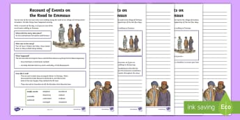 KS2 The Road to Emmaus Differentiated Worksheet / Activity Sheets - writing, recount, bible stories, first person, RE, religion, christianity, christian, worksheets