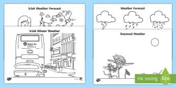 The Weather Station Aistear Colouring Pages - ROI, Topics, Aistear, The Weather Station, Colouring Pages, Worksheet / Activity Sheet, Irish, sun, rain, wind,