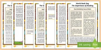UKS2 World Book Day Differentiated Fact File - world book day, charity events, reading, importance of reading, reading for pleasure, information sh