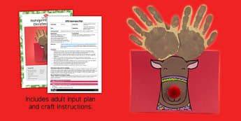 Handprint Rudolph Christmas Card Craft Adult Input Plan And Resource Pack - christmas, rudolf card