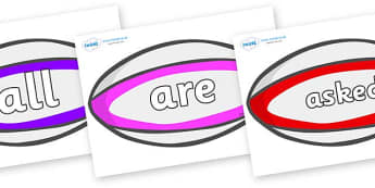 Tricky Words on Rugby Balls - Tricky words, DfES Letters and Sounds, Letters and sounds, display, words
