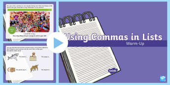 Year 2 Commas in Lists Warm-Up PowerPoint - Spag, revision, morning starter, punctuation, sentences