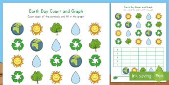 Earth Day Count and Graph Activity Sheet - early childhood graphing, april 22nd, recycling, reduce, reuse, recycle