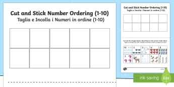 Winter themed cut and stick Number Ordering Sheets English/Italian - winter, cut, stick, number ordering, wnter, wintre, seriation, counting