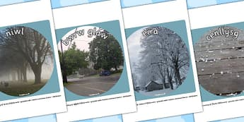 Weather Display Photo Cut Outs Welsh Translation - seasons, welsh