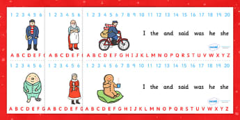Combined Number and Alphabet Strips to Support Teaching on The Jolly Christmas Postman - the jolly postman, alphabet strips, number strips, number alphabet strips