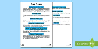 Body Breaks Poster A2   - Supply Teacher Survival Package, body break, classroom management, physical education, attention.