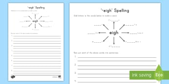-eigh Spelling Worksheet / Activity Sheet - Spelling, -eigh, language, Spelling patterns, Word Work, worksheet
