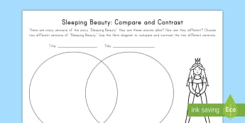 Sleeping Beauty: Compare and Contrast Activity Sheet - Sleeping Beauty, Common Core, Venn Diagram, ELA,Compare, Contrast, worksheet